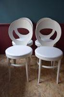 click for more details 4 chaises Baumann blanches assise skai