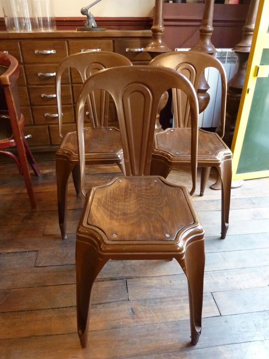 3 chaises m tal fibrocit chocolat ann es 50 chaises boutique broc martel. Black Bedroom Furniture Sets. Home Design Ideas