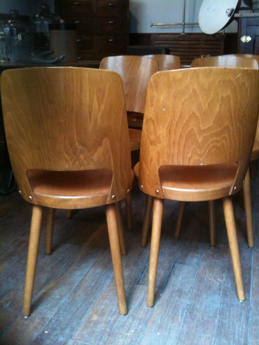6 chaises baumann couleur miel assise ronde design vintage ann e 50 archives boutique. Black Bedroom Furniture Sets. Home Design Ideas