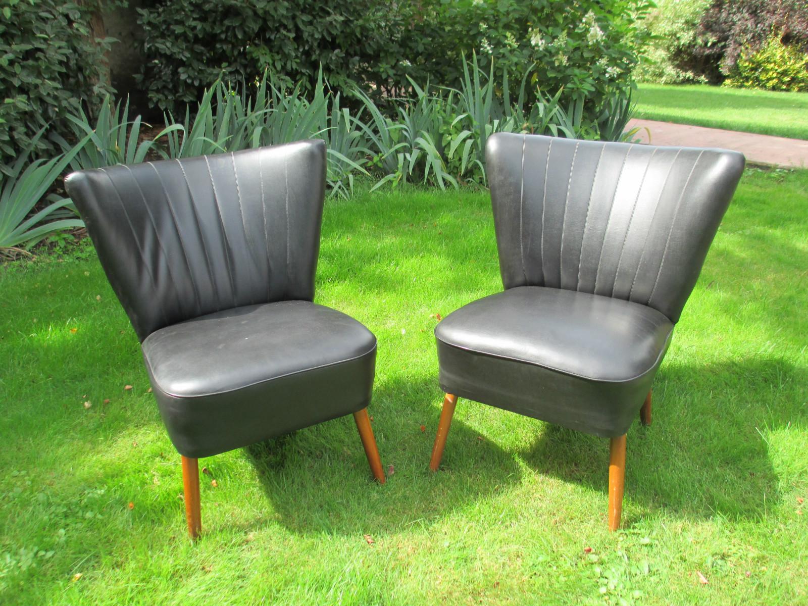 paire de fauteuil cocktail vintage skai noir - Fauteuil Cocktail Vintage
