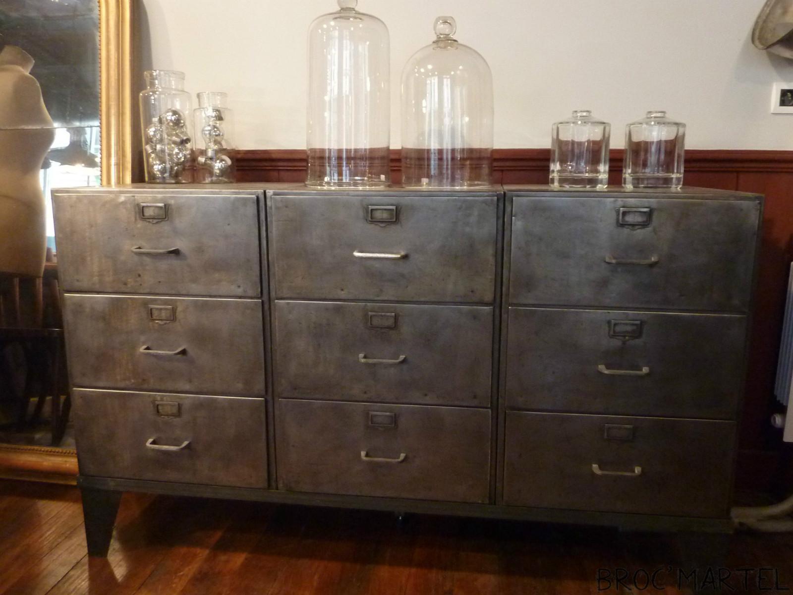 meuble de m tier en m tal 9 tiroirs mobilier boutique broc martel. Black Bedroom Furniture Sets. Home Design Ideas