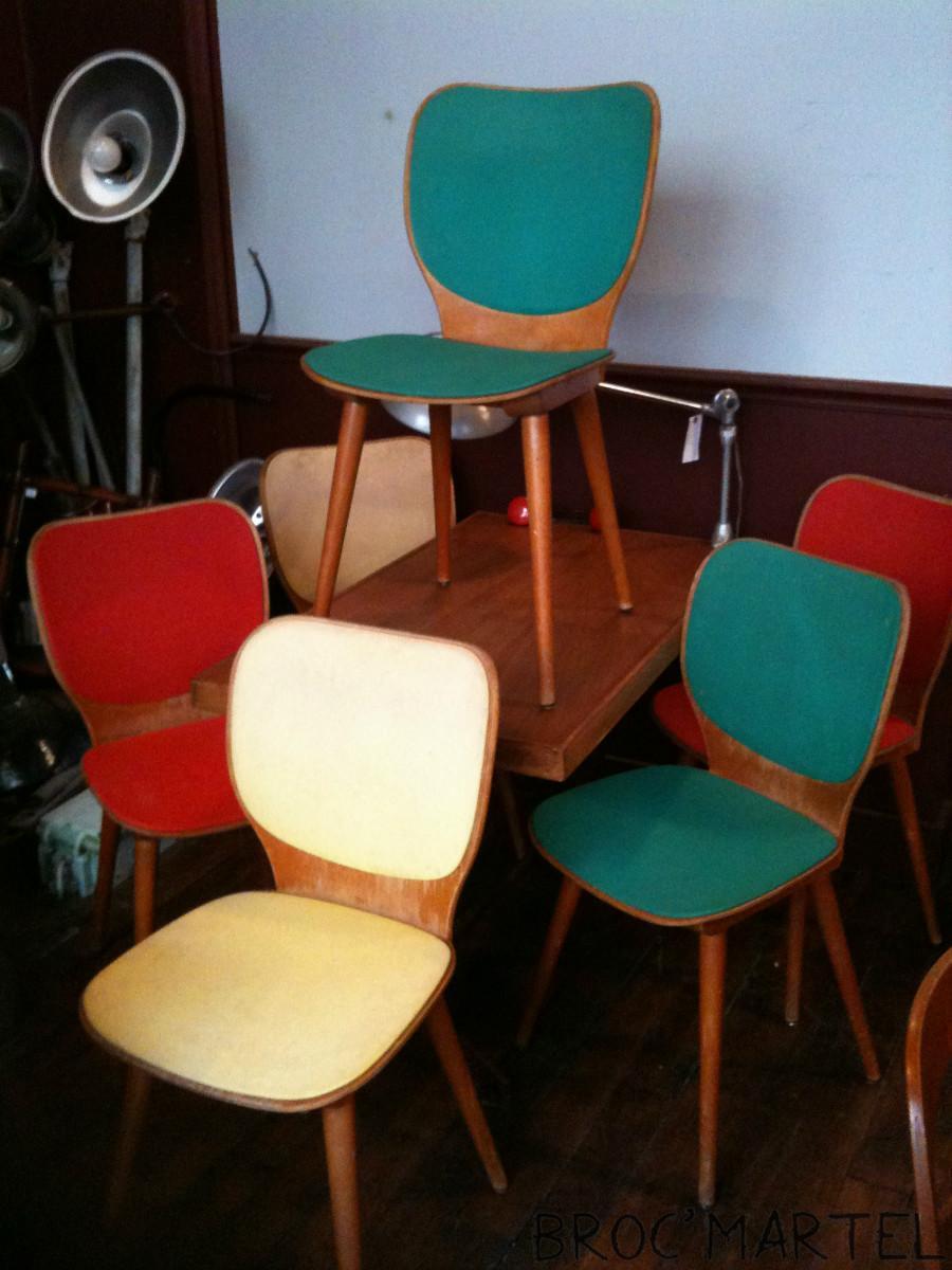 6 chaises baumann multicolore bois et skai ann e 60 archives boutique broc martel. Black Bedroom Furniture Sets. Home Design Ideas