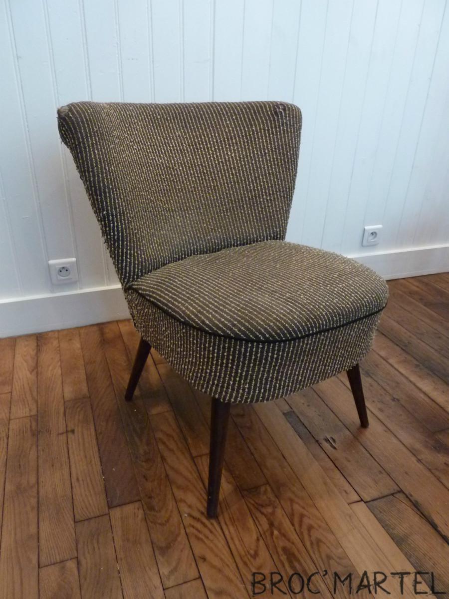 fauteuil cocktail vintage tissus tweed gris boutique. Black Bedroom Furniture Sets. Home Design Ideas
