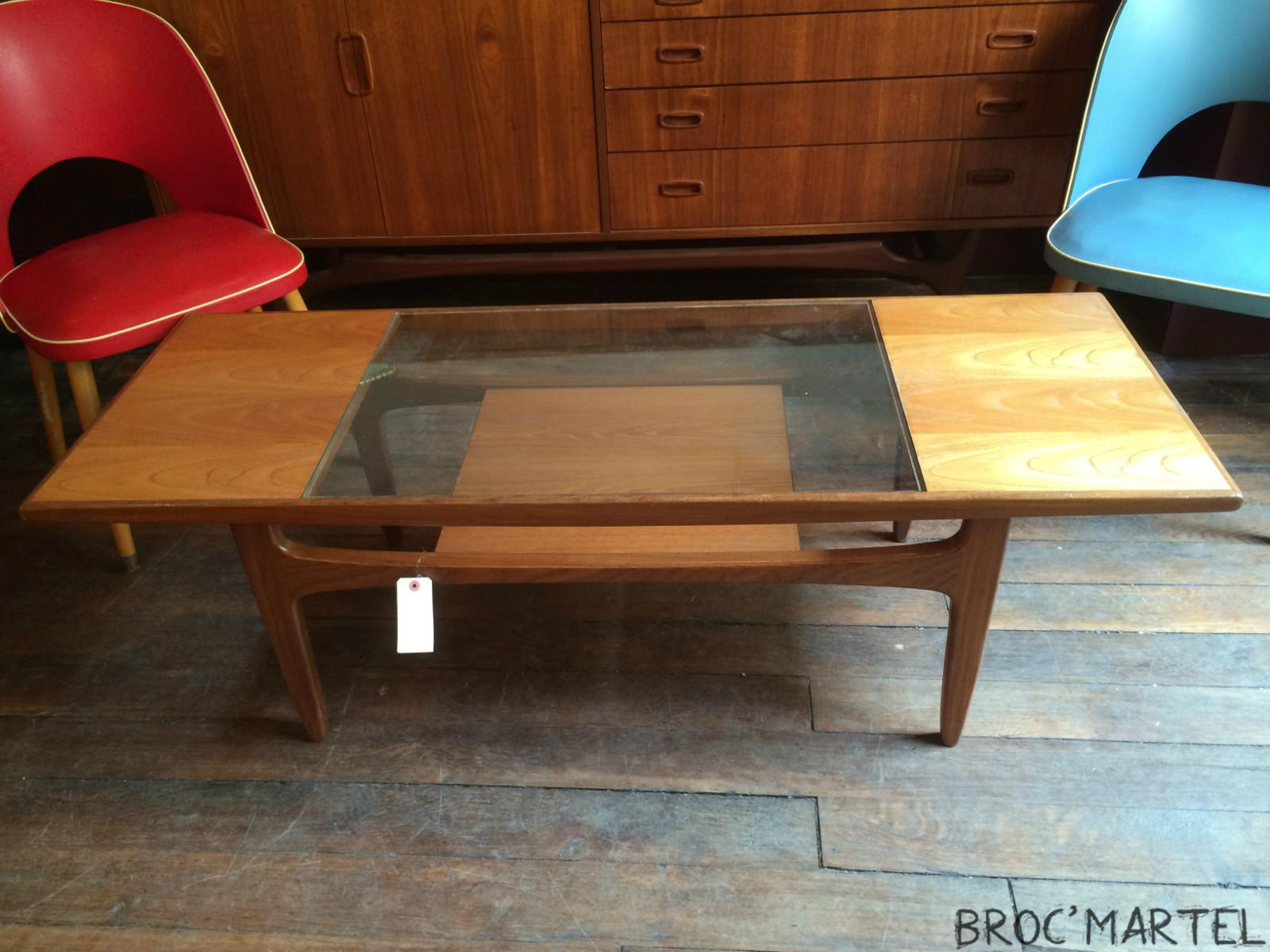 Table basse scandinave double plateau verre et teck ann e for Table basse teck et verre