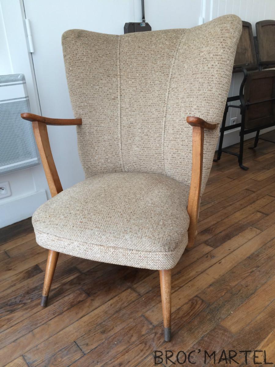 grand fauteuil cocktail dossier haut et accoudoirs chaises boutique broc martel. Black Bedroom Furniture Sets. Home Design Ideas